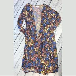 Long cardigan floral 70s vibe cover up XL lulaRoe
